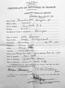 Certificate of Discharge of Seaman