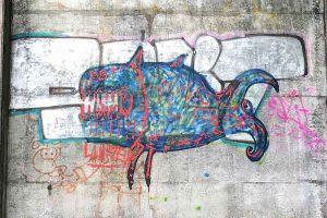 Graffiti, Basel, beim Allschwilerweiher, Schiessanlage
