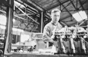 William Wilhelm Leemann works on engine OX5