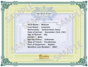 Passenger Record William Leemann