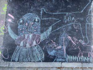 Kinder Kreidezeichnung Paradieshofstrasse Basel
