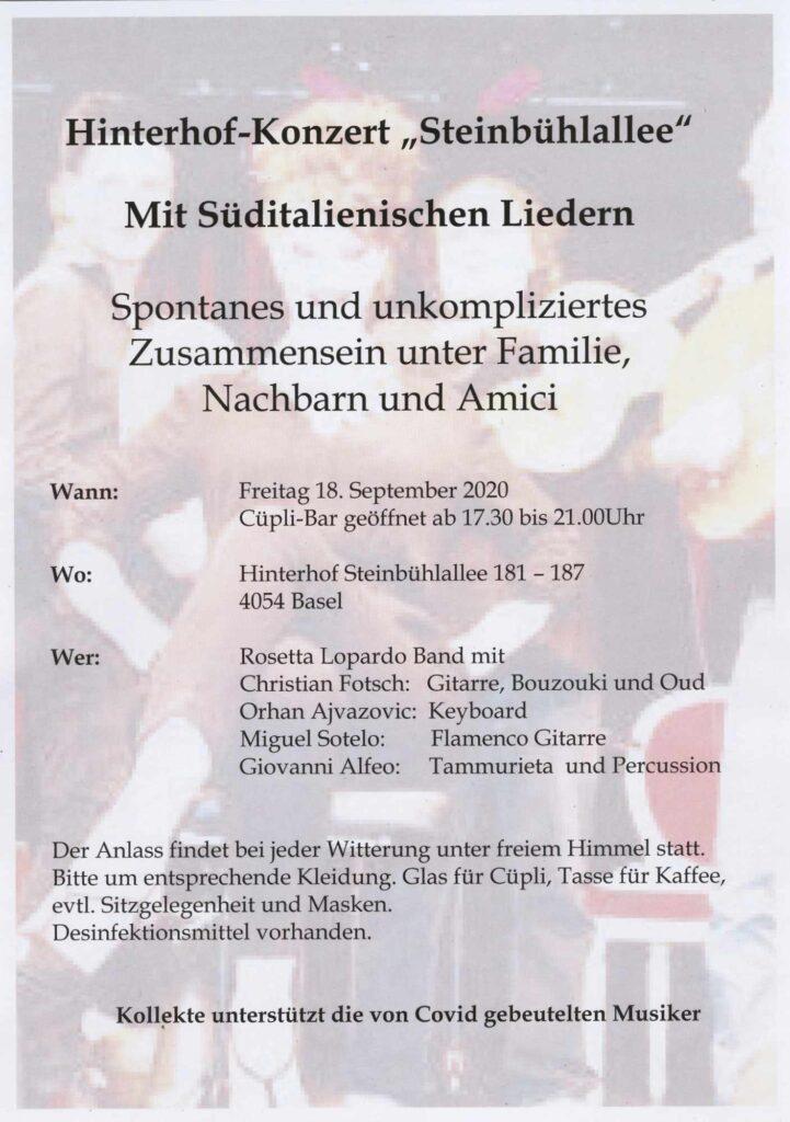 Hinterhofkonzert «Steinbühlallee» Freitag, 18. September 2020
