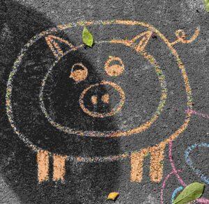 Kinder-Kreidezeichnung Furkastrasse Basel Strassenmalerei