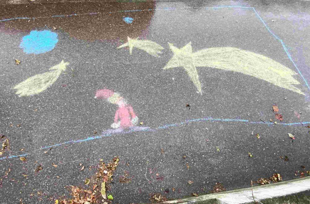 Kinder-Kreidezeichnung Im langen Loh, Basel Frohe Festtage