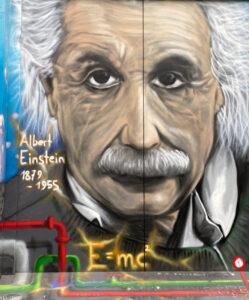 Basel, Steinenbachgässlein, Graffiti, Albert Einstein