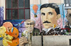 Basel, Steinenbachgässlein, Graffiti, Nikola Tesla