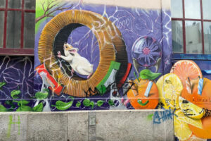 Basel, Steinenbachgässlein, Graffiti, Hamsterrad