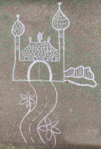 Kinder-Kreidezeichnung Gotthardstrasse Basel Schloss