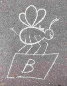 Kinder-Kreidezeichnung Gotthardstrasse Basel Biene