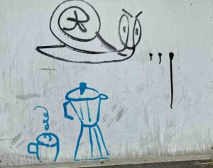 Graffiti, Weiherweg Basel, Schnecke und Kaffeemaschine