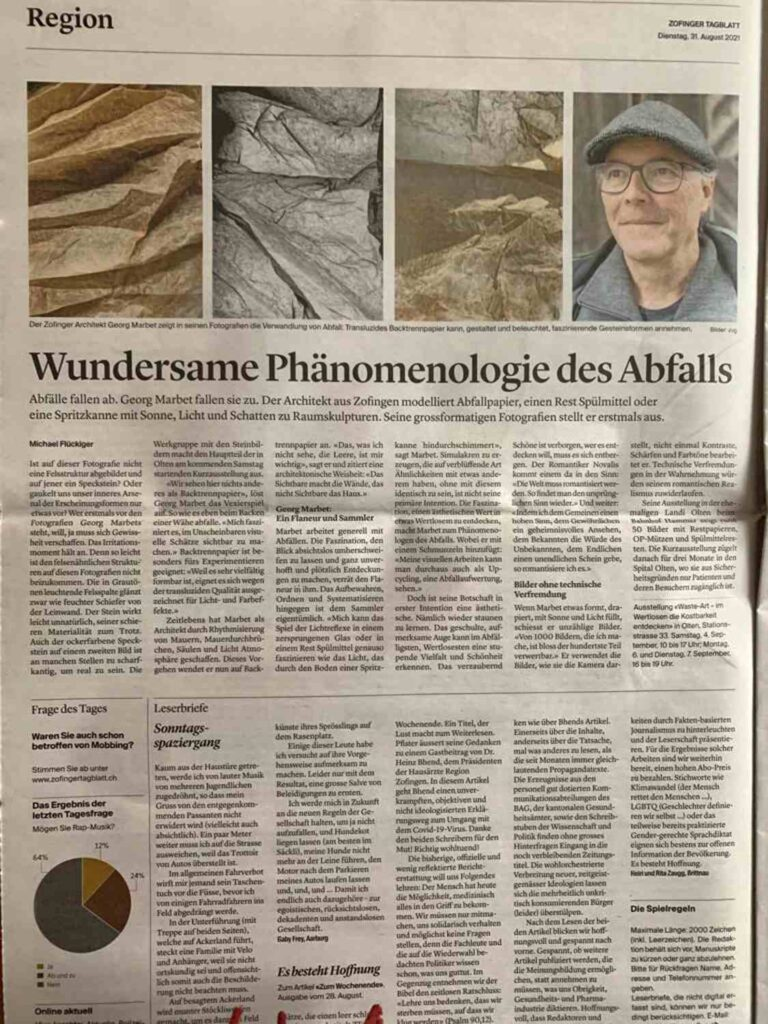 Zofinger Tagblatt: Artikel über Kunstausstellung «waste-art» in Olten, Raumskulpturen